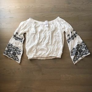 NWT LF White & Navy Off the Shoulder Shirt